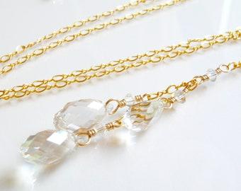 Swarovski Crystal Y Necklace, Gold Filled, Teardrop Crystal Bridesmaid Necklace, Y Drop Pendant, Handmade Wedding Jewelry Gift