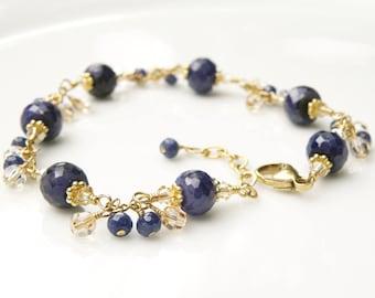 Natural Sapphire Bracelet, Navy Blue Stone Bracelet, Blue Gemstone, 14k Gold Filled, September Birthstone Birthday Gift, Wedding Jewelry