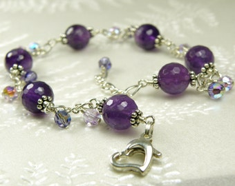 Natural Amethyst Stone Bracelet, Sterling Silver, Purple Gemstone, February Birthstone, Birthday, Women Accessory Gift, Handmade