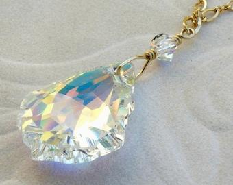 Vintage Shape Swarovski Crystal Necklace, Unique Teardrop Bride Pendant, Gold Filled, Clear Wedding Handmade Jewelry, Bridal Gift
