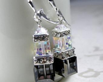 Black Crystal Earrings, Swarovski Crystal Cube Earrings, Sterling Silver, Black Dangle Earrings, Bridesmaid Earrings, Modern Wedding Jewelry