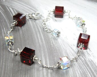 Red Crystal Bracelet, Sterling Silver, Garnet Swarovski Cube, Red Garnet Bracelet, January Birthday, Birthstone Gift, Handmade Jewelry