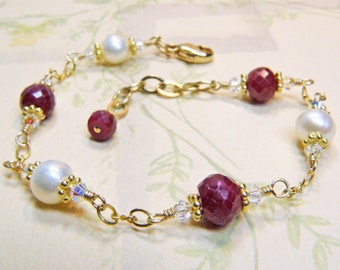 Ruby and Pearl Bracelet, Gold Filled, Natural Ruby Stone Bracelet, Red Gemstone, July Birthstone, July Birthday Gift, Christmas Jewelry