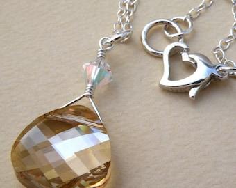 Champagne Teardrop Necklace, Yellow Topaz Crystal Pendant, Swarovski, Sterling Silver, Bridesmaids Gift Wedding Jewelry, November Birthstone