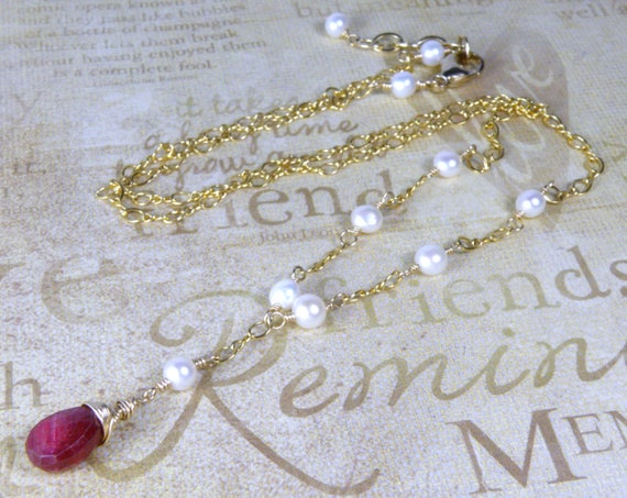 Natural Ruby Necklace Gold Filled Freshwater Pearls Red