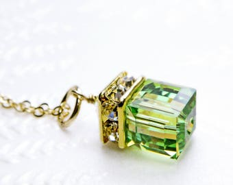 Peridot Green Necklace, Peridot Swarovski Cube Pendant, Gold Filled, Modern Wedding Handmade Jewelry, August Birthday, Ready To Ship