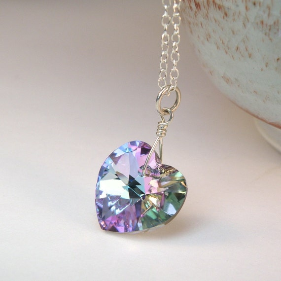 LIGHT AMETHYST Lavender Crystal Necklace Sterling Silver Swarovski Elements