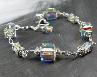 Clear Swarovski Crystal Bracelet, Sterling Silver, Modern Cube Jewelry, Sparkly Crystal Bracelet, Handmade Wedding, April Birthday Gift