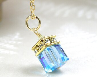 Aquamarine Crystal Necklace, Gold Filled, Sky Blue Topaz Swarovski Cube Teal Wedding Jewelry, Bridesmaid Necklace, March Birthday Birthstone