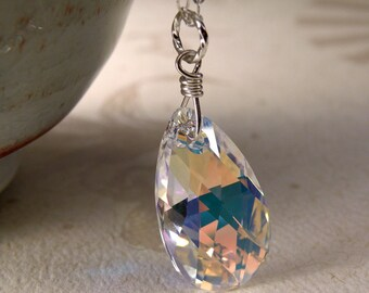 Teardrop Crystal Necklace, Bridesmaid Clear Swarovski Pendant, Wedding Simple Sterling Silver Handmade Jewelry, Classic Bridal Jewelry