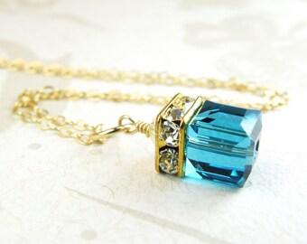 Teal Crystal Pendant, Teal Necklace, Blue Topaz Pendant, Swarovski Crystal Cube Gold Filled, December Birthstone Birthday Gift, Teal Wedding