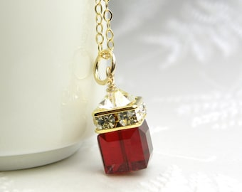 Garnet Red Necklace, Crystal Pendant, Gold Filled, Red Swarovski Cube, Bridesmaid Jewelry, Wedding Necklace, January Birthday Birthstone