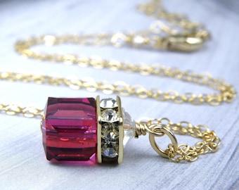 Ruby Crystal Cube Necklace, Gold Filled, Swarovski Crystal Fuchsia Wedding Jewelry Magenta Bridesmaid Pendant July Birthstone Gift, Handmade
