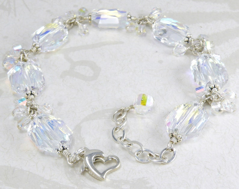 60330c477 Modern Crystal Bracelet Sterling Silver Swarovski Wedding   Etsy
