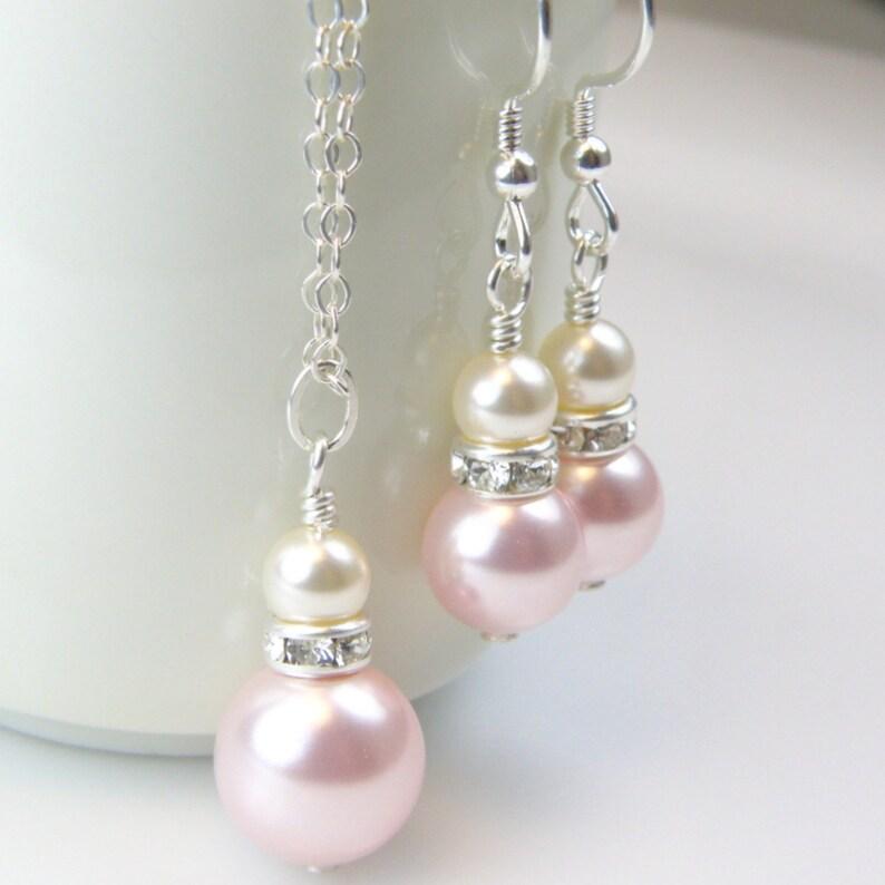 Engagement & Wedding Blush Pink Pearl Rhinestones Necklace Earrings Bracelet Wedding Set