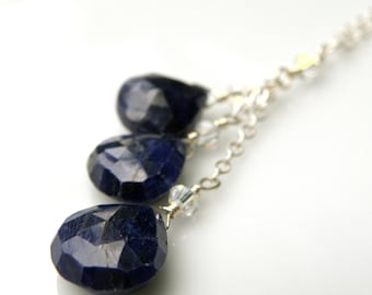 Natural Sapphire Necklace, Sterling Silver, Triple Drop Navy Blue Stone Pendant, September Birthday, Birthstone, Handmade Jewelry Gift