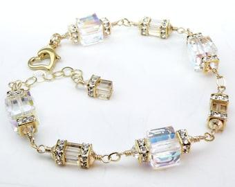 Modern Wedding Bracelet, Gold Filled Swarovski Crystal Cube Bridal Bracelet, Clear Crystal Mother of Bride Gift, April Birthday