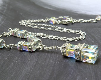 Swarovski Crystal Cube Necklace, Sterling Silver, Clear Crystal Necklace, Faux Diamond April Birthday Gift, Dressy Jewelry, New Years Eve