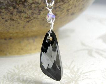 Hematite Crystal Pendant, Sterling Silver Modern Necklace, Swarovski Crystal Black Triangle, Geometric Autumn Layering Jewelry, Handmade