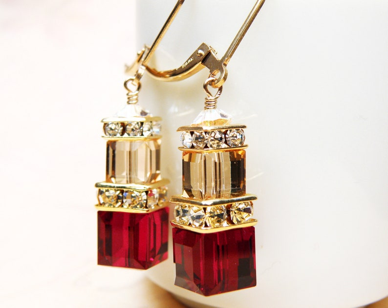 Red Garnet Crystal Earrings Red and Yellow Swarovski Cube image 0