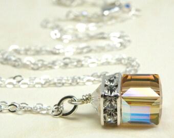 Yellow Topaz Swarovski Cube Necklace, Sterling Silver, November Pendant Birthstone Birthday, Bridesmaid Autumn Wedding Handmade Jewelry