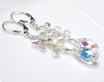 Swarovski Crystal Dangle Earrings, Sterling Silver or 14k Gold Filled Clear Cluster Earrings, Wedding Bridal Teardrop Jewelry for Women