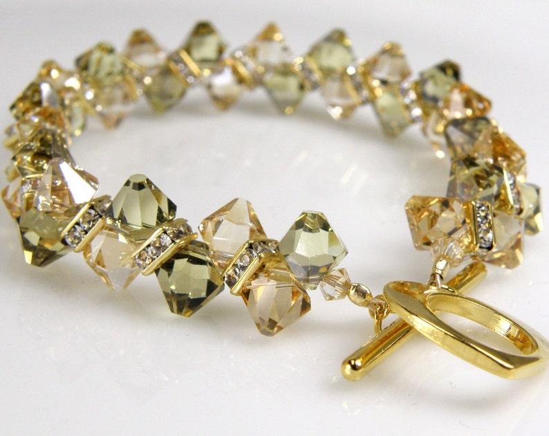 a6f10ebf78ff2a Champagne Crystal Tennis Bracelet Gold Rhinestone Yellow | Etsy