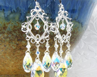 Bridal Chandelier Earrings, Clear Swarovski Crystal, Sterling Silver Diamond Hoops, Wedding Jewelry for the Bride, Mother of the Bride Gift