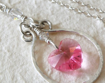 Pink Heart Necklace, Sterling Silver Hoop Pendant, Petite Rose Heart Handmade Jewelry, Valentine Gift for Her, Spring Fashion