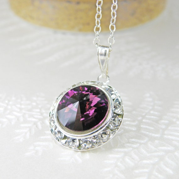 SET Solid Silver Oval Amethyst Matching Necklace /& Stud Earrings BOXD Plum UK.