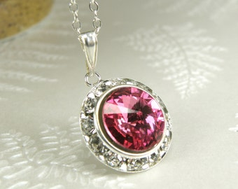 Pink Crystal Necklace, Rose Swarovski Rhinestone Pendant, Sterling Silver, Spring Wedding Jewelry, Bridesmaid Gift, October Awareness Color