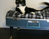 Upcycle - Suitcase Pet Bed - Blue and Black Plaid