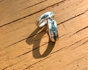 Turquoise and Sterling Silver Inlay Band Ring