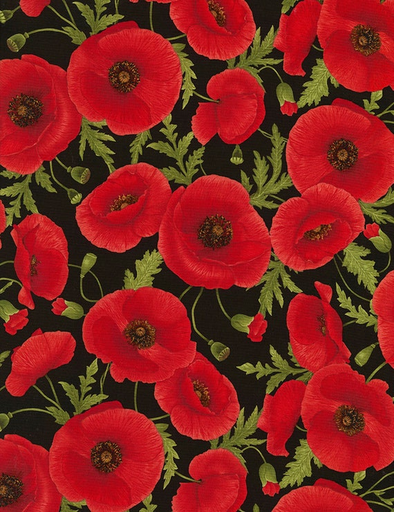 Poppy Flower Fabric Timeless Treasures C5837 Tuscan