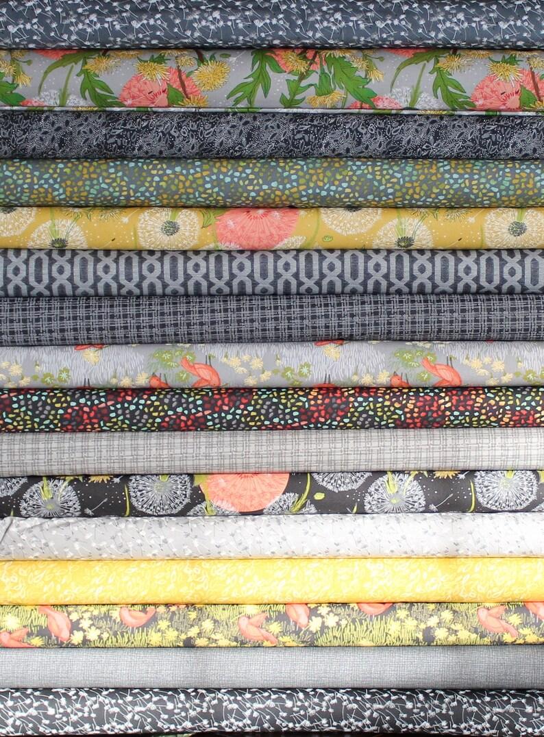 Robins Pickens Moda Black Grey Dandi Annie Half Yard Fabric