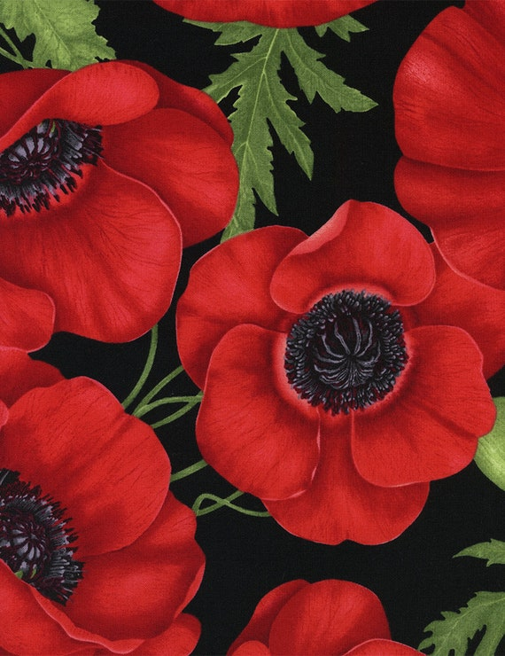 Poppy Flower Fabric Timeless Treasures C1051 Tuscan