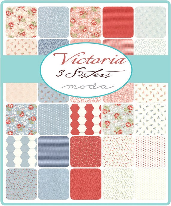 44161 13 MODA Fabric ~ VICTORIA ~ by 3 Sister/'s by the 1//2 yard Ivory Blue