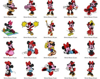 Disney Minnie Mouse Machine Embroidery Designs Set 4x4 Hoop Instant Download pes, hus, jef, jef+, vip, vp3, dst, xxx, exp included