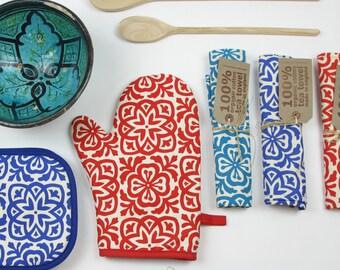 Moroccan Tile Print Oven Mitt Pot Holder