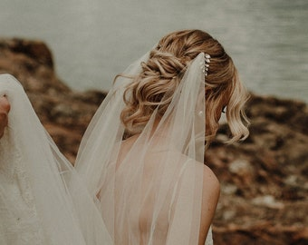 Boho Veil   Bohemian Wedding Veil   Cathedral Veil   Ivory Veil   Draped Veil   Beaded Bridal Veil   Laurel Comb Veil [Aella Draped Veil]