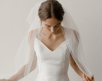 Two Tier Veil   Wedding Veil   Veil with Blusher   2 Layer Veil   Long Veil   Bridal Veil   Simple Veil   Fingertip Veil [Gwyneth Veil]