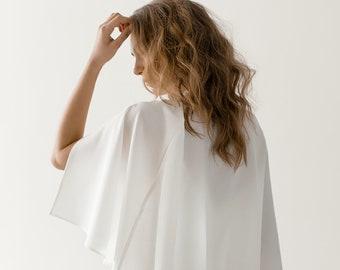 Minimalist Modern Bridal Cape | Ivory Silky Wedding Capelet | Crepe Bridal Cover Up | Simple Bridal Bolero | Wedding Coverup [Lyra Cape]