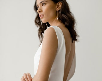 Sophisticated Bridal Gown | Simple Minimal Wedding Dress | Ivory Boat-Neck Wedding Dress | Open Back Crepe Wedding Gown [Margot Gown]