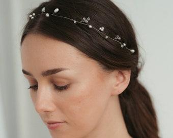 Minimal Bridal Headband   Pearl Hair Vine   Bridal Crystal Hairpiece   Wedding Hair Accessory   Boho Halo [Eliana Hair Vine]