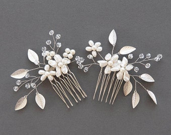 Silver Hair Comb | Silver Leaf Comb | Bridal Hair Pin | Wedding Hairpiece | Pearl Headpiece | Crystal Hair Piece [Phoebe Comb Set]