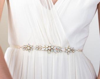 Opal Star Bridal Sash   Moonstone Bridesmaid Sash   Something Blue Wedding Belt   Opalescent Shooting Star Sash [Astraea Sash]