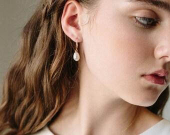 Pearl Drop Earrings   Bridal Earrings   Pearl Earrings   Pearl Jewelry   Bridesmaids Earrings Gift   Wedding Jewelry [Moondrop Earrings]