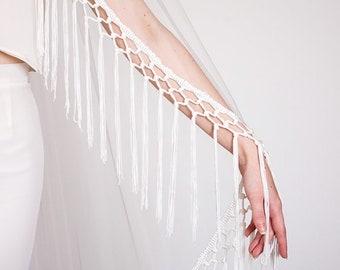 Boho Fringe Veil   Ivory Wedding Veil   Bohemian Veil   Simple Veil   Soft Tulle Veil   Single Layer Veil   Bridal Veil [Pasiphae Veil]