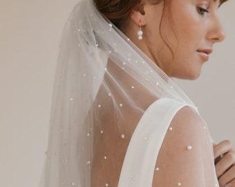 Pearl Veil   Fingertip Veil   Pearl Wedding Veil   Bridal Veil   Simple Veil   Chapel Veil   Single Layer Veil   Ivory Veil [Amaris Veil]