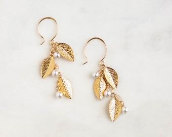 Leaf Drop Earrings   Dangle Bridal Earrings   Boho Wedding Earrings   Pearl Wedding Jewelry   Gold Waterfall Earrings [Adelia Earrings]